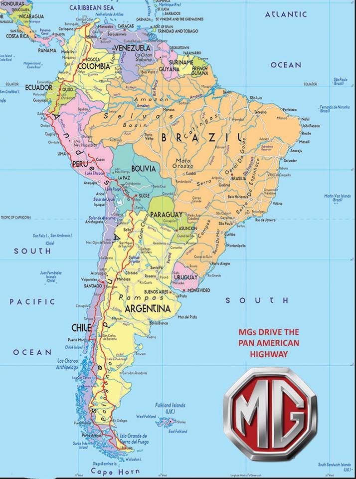 RoutePan American Highway - Argentina highway map